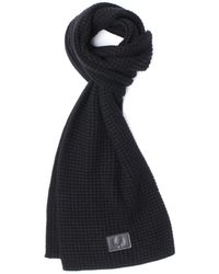 Fred Perry - Waffle Knit Black Scarf - Lyst