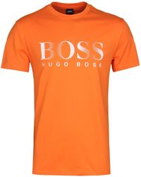 ab50627d53d BOSS Mens Navy Classic Logo Sun Protection Cotton T-shirt in Blue ...