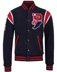 Polo Ralph Lauren - Navy Teddy Fleece Varsity Jacket - Lyst