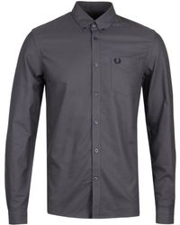 Fred Perry Gunmetal Grey Classic Oxford Shirt - Gray