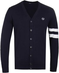 Fred Perry - Navy V-neck Cardigan - Lyst