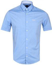 BOSS Green - Boss Atheisure Biadia Light Blue Short Sleeve Shirt - Lyst