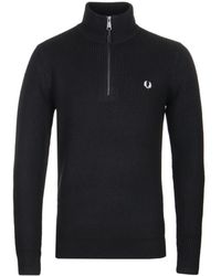 Fred Perry - Zip Neck Black Rib Jumper - Lyst
