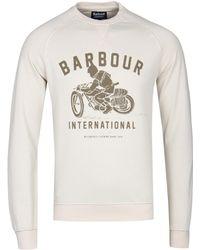 Barbour - Ecru Burn Crew Sweatshirt - Lyst