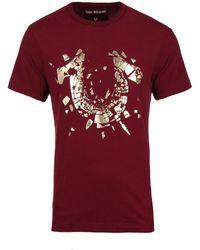 True Religion - Maroon Red Shattered Logo Tee - Lyst