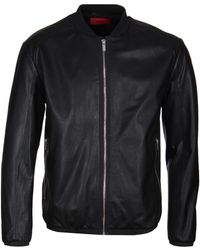 HUGO - Lewy Black Leather Bomber Jacket - Lyst