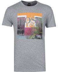 BOSS Orange - Boss Tux 1 Grey Marl Printed Crew Neck T-shirt - Lyst