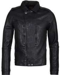 Pretty Green - Delcott Black Leather Jacket - Lyst