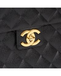 e3f5f78450dd4a Chanel - Black Quilted Caviar Leather Vintage Jumbo Xl Classic Briefcase -  Lyst