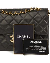 a854ed704143 Chanel - Black Quilted Lambskin Vintage Small Classic Double Flap Bag - Lyst