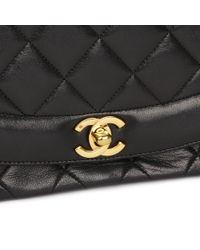 c991f74fb7c2 Chanel - Black Quilted Lambskin Vintage Medium Diana Classic Single Flap Bag  - Lyst