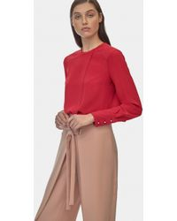 Yigal Azrouël - Long Sleeve Crepe Georgette Top - Lyst
