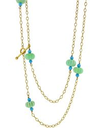 Cathy Waterman - Chrysoprase And Turquoise Flower Necklace - Lyst