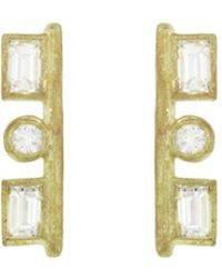 Tate - Rectangle And Circle Diamond Stud Earrings - Lyst