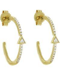 Jennifer Meyer - Diamond Mini Trillion Hoop Earrings - Lyst