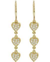Jennifer Meyer - Mini Diamond Trio Heart Drop Earrings - Lyst