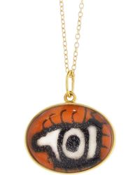 Ileana Makri - Hand Painted Orange And Black Evil Eye Necklace - Lyst