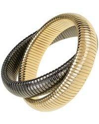 Janis Savitt - High Polished Gold And Gunmetal Double Cobra Bracelet - Lyst