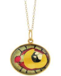 Ileana Makri - Hand Painted Orange And Pink Evil Eye Necklace - Lyst