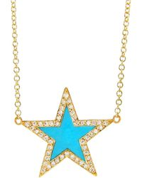 Jennifer Meyer - Turquoise Inlay Diamond Star Necklace - Lyst