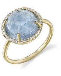 Irene Neuwirth - Rose Cut Aqua Ring With Diamonds - Lyst
