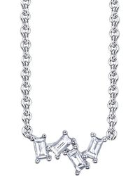 Borgioni - Four Diamond Baguette Cluster Necklace - Lyst