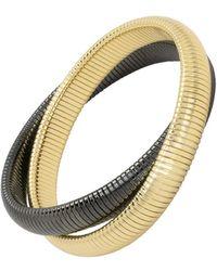 Janis Savitt - High Polished Medium Gold And Gunmetal Double Cobra Bracelet - Lyst