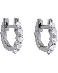Sethi Couture - White Diamond Round Mini Huggie Hoop Earrings - Lyst