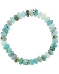 Sydney Evan - Turquoise Diamond Bezel Rondelle Charm On Peruvian Opal Beaded Bracelet - Lyst