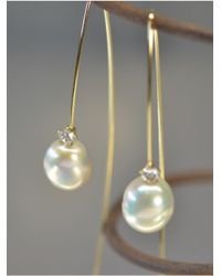 Kataoka - Pearl Diamond Drop Earrings - Lyst