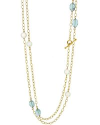 Cathy Waterman - Apatite And Pearl Wire Wrap Necklace - Lyst