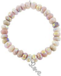 Sydney Evan - Micro Pave Love Charm On Opal Beaded Bracelet - Lyst