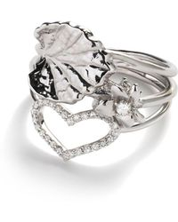 Jordan Askill - Leaf, Violet And Heart Stacking Ring - Lyst