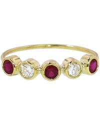 Jennifer Meyer - Ruby And Diamond Five Stone Ring - Lyst