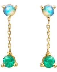 Wwake - Small Two-step Opal And Emerald Chain Stud Earrings - Lyst