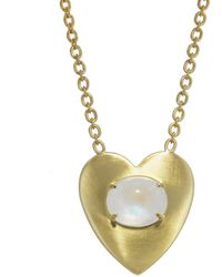 Irene Neuwirth - Rainbow Moonstone And Large Flat Gold Heart Necklace - Lyst
