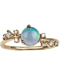 Wwake - Large Organic Crossover Opal & Diamond Ring - Lyst