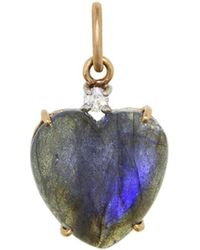 Irene Neuwirth - Labradorite Cabochon Heart And Diamond Charm - Lyst