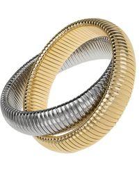 Janis Savitt - Large High Polished Gold And Rhodium Double Cobra Bracelet - Lyst