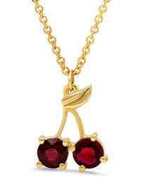 Established - Cherry Charm Necklace - Lyst