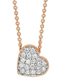 Ginette NY - Tiny Diamond Heart Necklace - Lyst