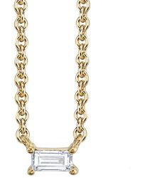 Borgioni - Single Baguette Diamond Necklace - Lyst