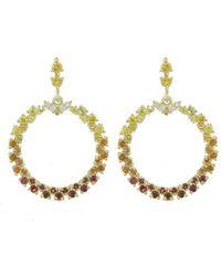 Ruta Reifen - White, Red, Orange, Yellow Sapphire Show Love Hoop Earrings - Lyst