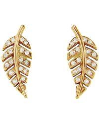 Jennifer Meyer - Mini Leaf Diamond Stud Earrings - Lyst