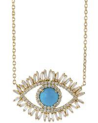 Suzanne Kalan - Large Diamond Turquoise Evil Eye Necklace - Lyst