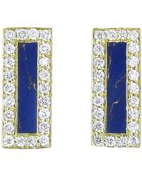 Jennifer Meyer - Diamond Lapis Inlay Bar Stud Earrings - Lyst