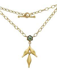 Cathy Waterman - Green Sapphire Bezel Flex Wheat Charm Necklace - Lyst