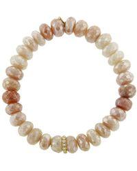 Sydney Evan - Round Diamond Bezel Charm On Mystic Peach Moonstone Beaded Bracelet - Lyst