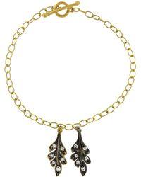 Cathy Waterman - Double Oak Leaf Bracelet With Diamonds - Lyst