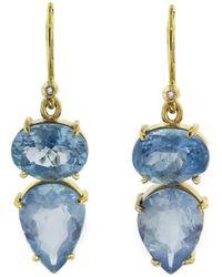 Irene Neuwirth - One-of-a-kind Oval And Teardrop Aquamarine Earrings - Lyst